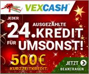 Weihnachtsaktion – Kurzzeitkredit-Anbieter VEXCASH schenkt jedem 24. Neukunden den ausgezahlten Kredit